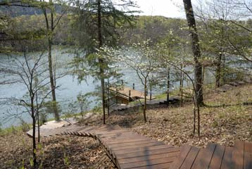 Steps to the lake and dock at Cabin 1