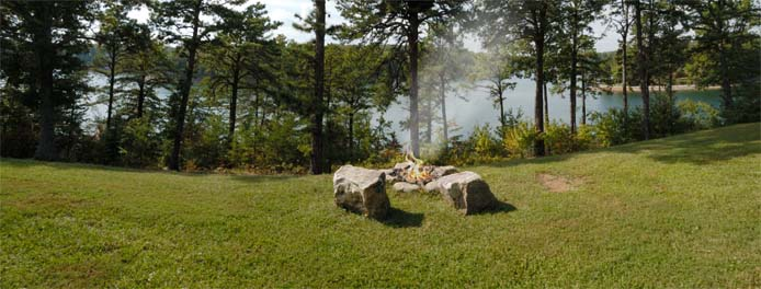 Firepit overlooking lake at Main House